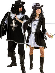 Couples Black Musketeer Fancy Dress Costumes