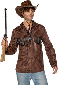 Mens Brown Suede Effect Cowboy Shirt
