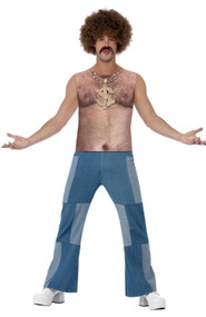 Mens 70s Hairy Chest Fancy Dress Top