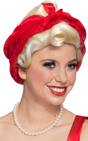 Ladies Blonde 50s Wig with Headscarf