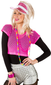 Ladies Neon Pink Fishnet Fancy Dress Top