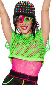 Ladies Neon Green Fishnet Fancy Dress Top
