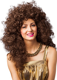 Ladies Long Curly Brown Fancy Dress Wig