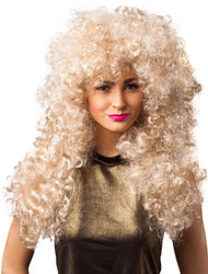 Ladies Long Blonde Permed Wig