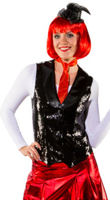 Ladies Black Sequinned Fancy Dress Waistcoat