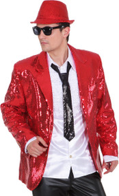 Mens Red Sequinned Disco Jacket