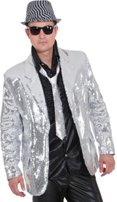 Mens Silver Sequinned Disco Jacket