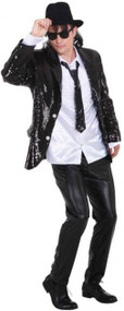 Mens Black Sequinned Disco Jacket