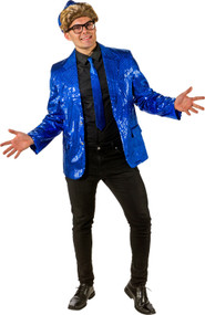 Mens Blue Sequinned Disco Jacket