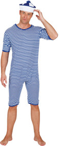 Mens Blue Sailor Bathing Fancy Dress Suit