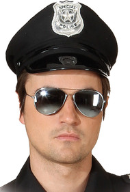 Adult Black Police Fancy Dress Hat