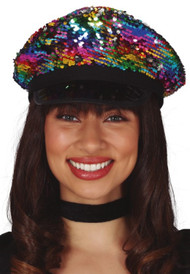Adults Rainbow Sequin Disco Hat