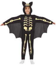 Childs Skeleton Bat Fancy Dress Costume