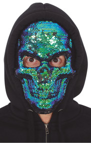 Adults Sequined Skull Fancy Dress Mask