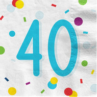 40th Birthday Confetti Party Napkins