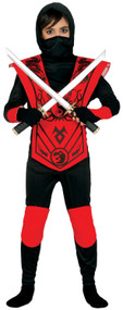 Boys Red Shinobi Ninja Fancy Dress Costume
