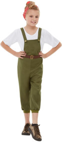 Girls 1940s Land Girl Fancy Dress Costume
