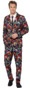 Men Evil Clown Fancy Dress Costume Suit