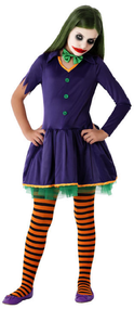 Girls Crazy Smiling Clown Fancy Dress Costume