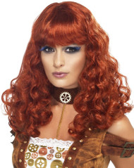 Ladies Curly Auburn Steampunk Wig