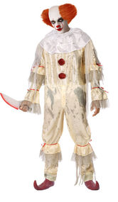 Mens Evil Bad Clown Fancy Dress Costume