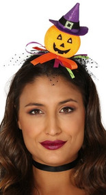 Ladies Pumpkin Witch Mini Hat