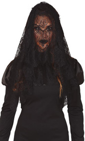 Ladies Black Lace Halloween Veil