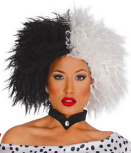 Ladies Half Black and White Wig