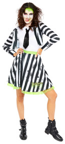 Ladies Crazy Beetlejuice Fancy Dress Costume
