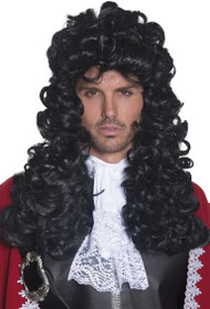 Mens Black Curly Renaissance Wig