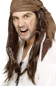 Mens Brown Pirate Wig with Bandana