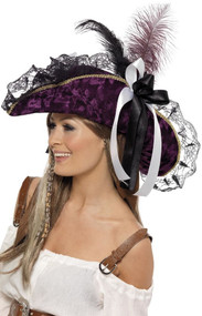 Ladies Purple & Black Pirate Hat