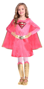 Girls Pink & Gold Supergirl Fancy Dress Costume