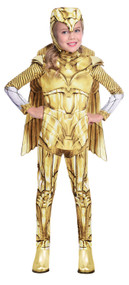 Girls Wonder Woman Gold Hero Fancy Dress Costume