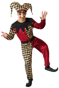 Mens Bell Harlequin Jester Fancy Dress Costume