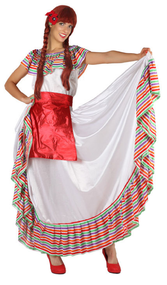 Ladies Rainbow Mexican Senorita Fancy Dress Costume
