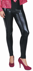 Ladies Black Faux Leather Leggings