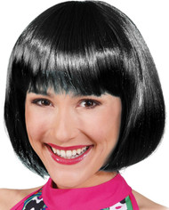 Ladies Black Fringed Short Bob Wig