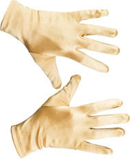 Adult Short Gold Satin Gloves