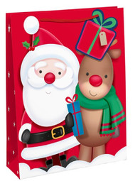 3 X Medium Cute Santa Christmas Gift Bags