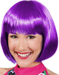 Ladies Straight Bright Purple Bob Wig
