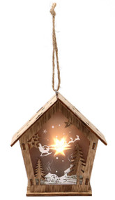 Light Up Wooden House Decoration