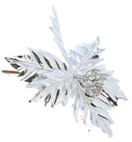 3 X Oversized 20cm Silver Glittery Christmas Flower Decorations