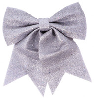 Large Oversized Silver Glittery Christmas Bow Decoration