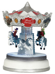 Animated Musical Winter Wonderland Christmas Carousel Decoration