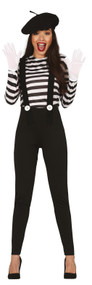 Ladies Classic Mime Fancy Dress Costume