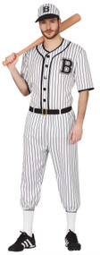 Mens American Baseball Player Fancy Dress Costume