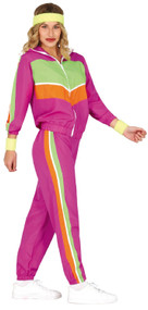 Ladies Pink 80s Fancy Dress Tracksuit
