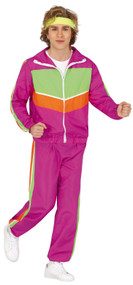 Mens Pink 80's Fancy Dress Tracksuit