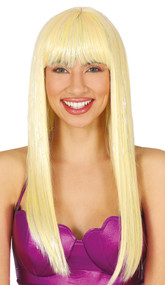 Ladies Long Blonde Sparkle Fancy Dress Wig